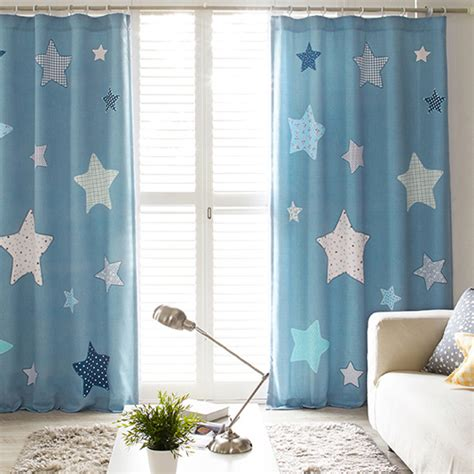 blue star print polycotton insulated cute kids curtains