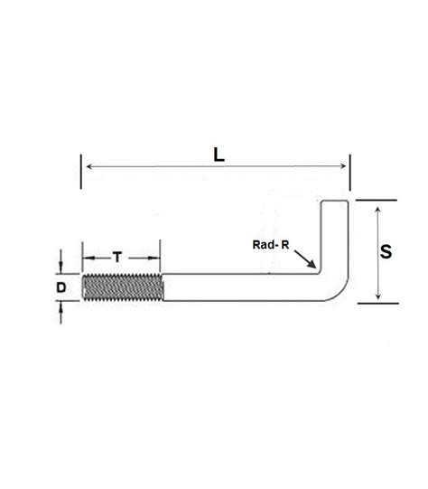 Bolt L foundation bolt anchor or l bolt m12 x 150 mm galvanised