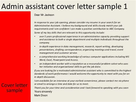 Cover Letter For Admin Assistant – Administrative Assistant Cover Letter Template   Free