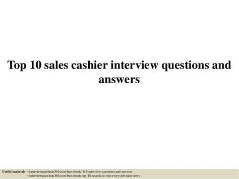 top 10 sales cashier questions and answers