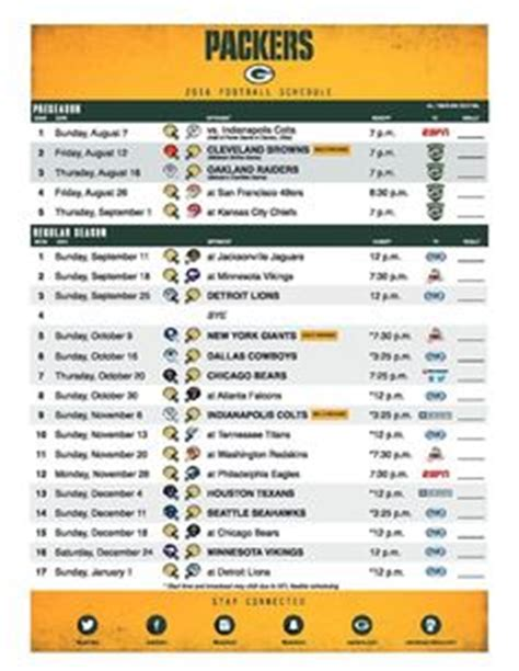 printable schedule for green bay packers 2017 green bay packers football schedule printable nfl