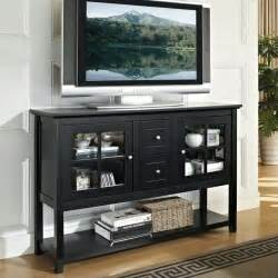 walker edison 52 wood console table black tv stand ebay