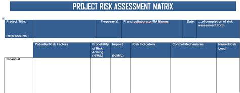 get project risk matrix template in word format project
