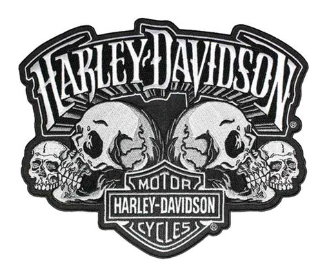 Emblem Harley New Skull harley davidson skull text bar shield embroider emblem lg 8 x 6 5 in em169884
