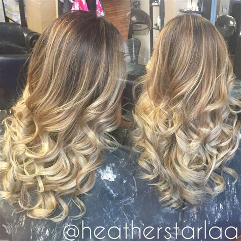 layered medium long length ash brownblonde balayage ombre escaille dark brown to ash blonde balayage ombre curled hair