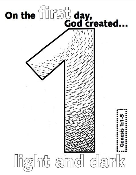 first day creation coloring pages look to him and be radiant creation numbers