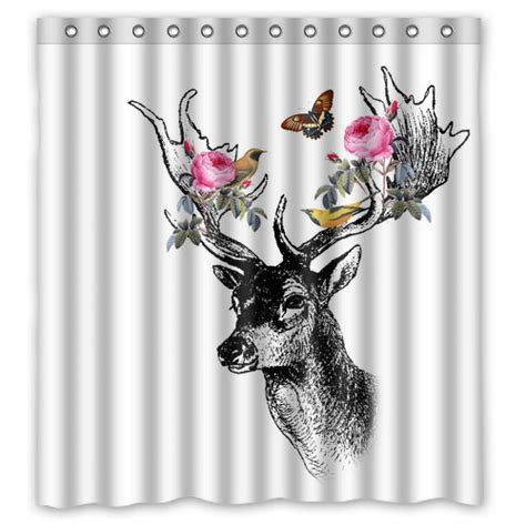 deer shower curtains and accessories floral forrest deer with birds shower curtain deer shower