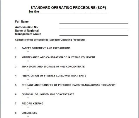how to create a sop template 37 best free standard operating procedure sop templates