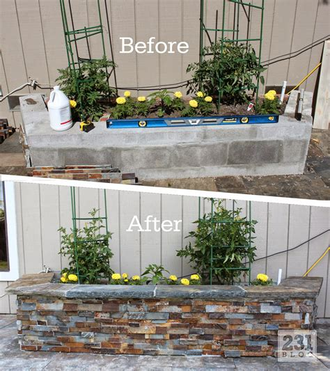 Concrete Block Planter Box by Diy Slate Ledger Planter Boxes With A Bench Boxes