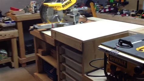 chop saw bench portable workbench table saw and chop saw youtube