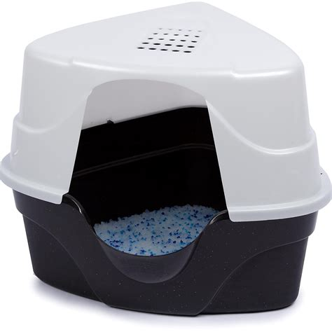 litter box nature s miracle advanced corner hooded cat litter box petco
