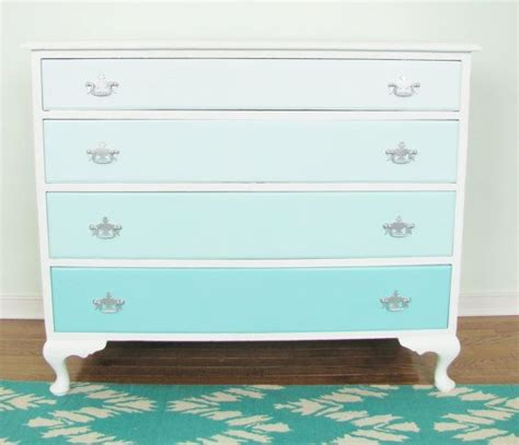 shades of blue ombre chest of drawers dresser changing ombre french vintage dresser turquoise blue 4 drawer