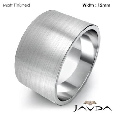 men s plain wedding band flat pipe cut ring 12mm 18k white