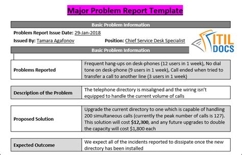Major Problem Report Template Itil Docs Major Incident Report Template