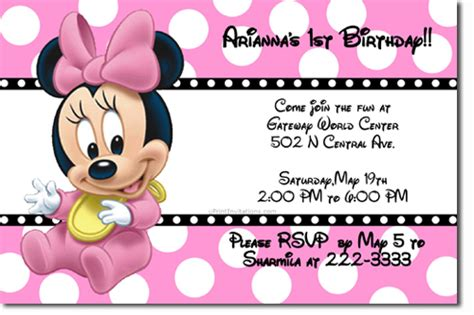baby minnie mouse birthday invitations baby minnie mouse birthday invitations free invitation