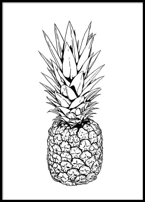 White Interior Design Ideas by Poster With Pineapple Illustration Black And White Print