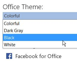how to change the office 2016 new color themes