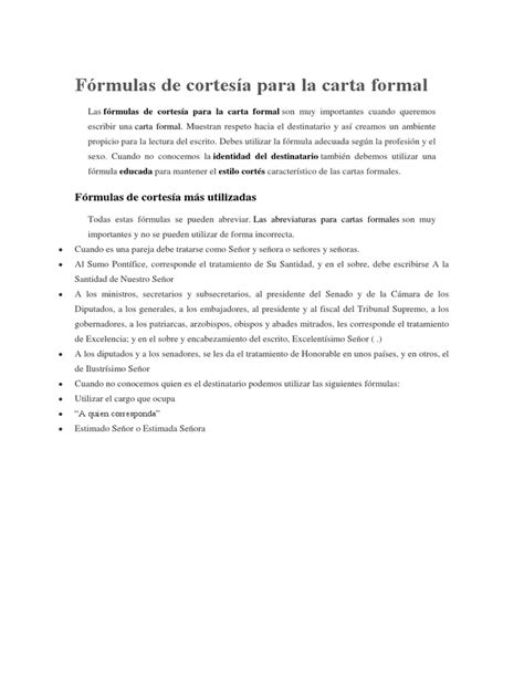 La Carta Formal Pdf f 243 rmulas de cortes 237 a para la carta formal