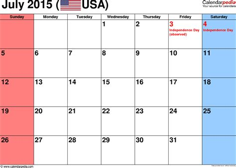 printable weekly calendar july 2015 july 2015 calendars for word excel pdf