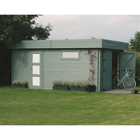 garage bois toit plat garage toit plat en bois massif 19 26m 178 madriers 40mm solid