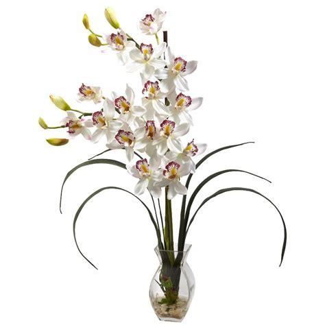decorative vase vases flower vase flowers orchid white cymbidium white orchid silk flower arrangement with vase