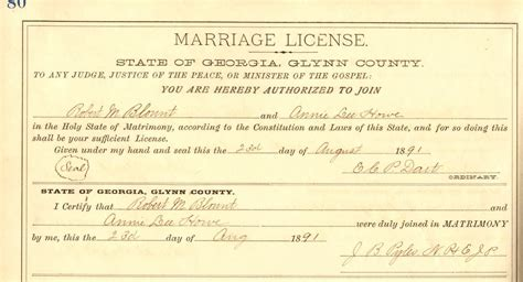 Ga Marriage License Records Blount Family Documents Glynn Co