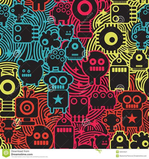Awesome Architecture by Robot And Monsters Cool Seamless Pattern Stock Image