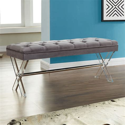 tufted velvet bench joanna gray tufted velvet ottoman bench from armen living coleman furniture