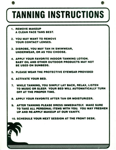 tanning stickers and more tanning instructions white