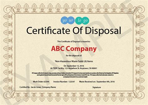 certificate of disposal template 10 items that should be included in a certificate of