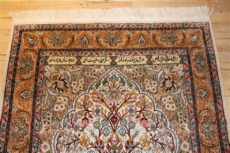 antiques atlas kashmir silk prayer rug carpet signed