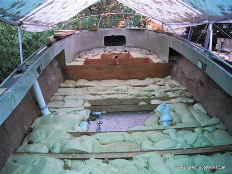 How To Fiberglass A Boat Floor by Gutting And Rebuilding The Floor Babylon Boat Works