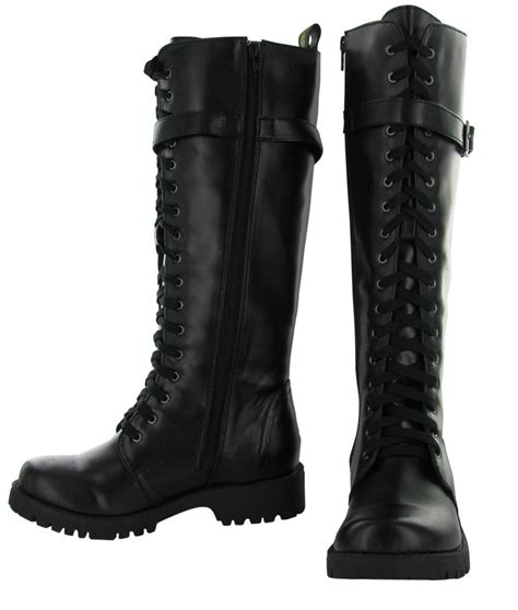 womans combat boots volatile combat s boots knee high faux leather vegan