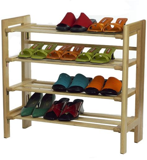 wooden four tier shoe shelf in shoe racks