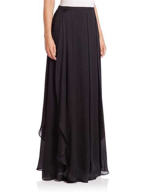 escada ruffled silk chiffon maxi skirt in black lyst