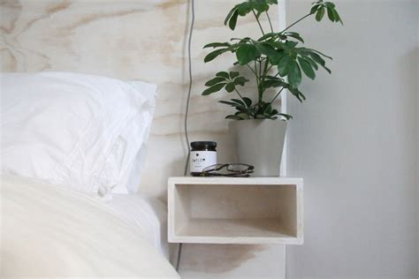 headboard with floating side tables diy minimal plywood headboard floating bedside table