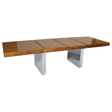 Chrome Dining Table Roger Sprunger For Dunbar Walnut Burl Wood And Chrome