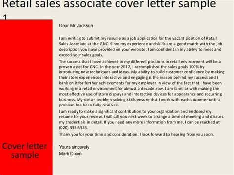 Gnc Sales Associate Cover Letter by Retail Sales Associate Cover Letter