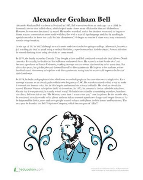 alexander graham bell biography worksheet alexander graham bell portrait le veon bell and articles
