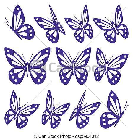 farfalle clipart illustrazione vettoriale di farfalle set differente