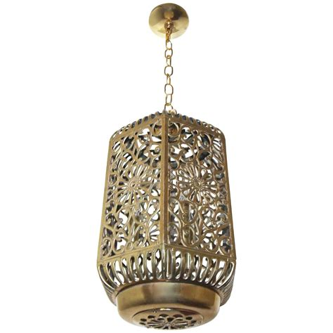 Large Pierced Filigree Brass Japanese Asian Ceiling Japanese Pendant Lights