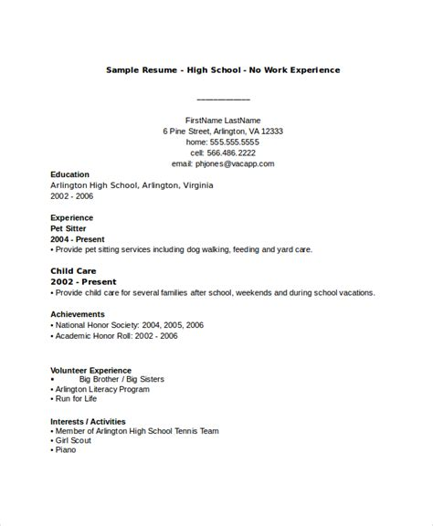 college resume format for high school students 10 high school resume templates exles sles format
