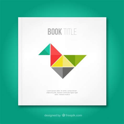 book cover with origami bird vector free