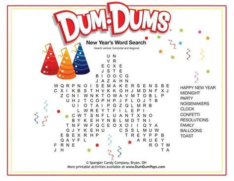 new year for search word new year s word search dum dums printable