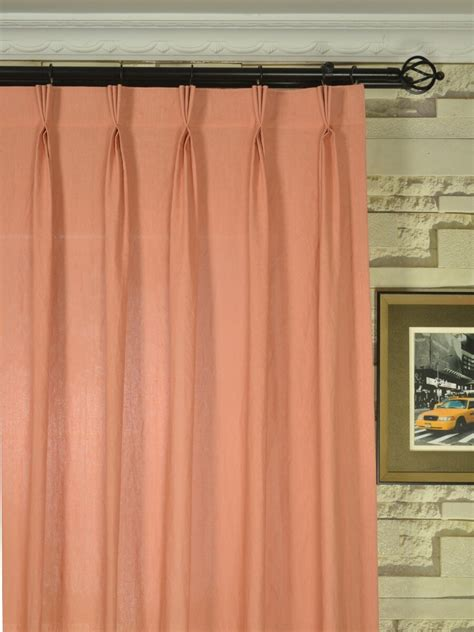 coral colored curtains qyk246sek eos linen red pink solid triple pinch pleat