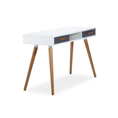 bureau milan style scandinave en mdf blanc et bois