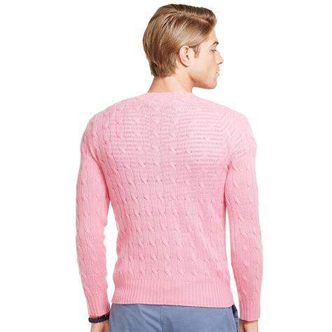 pink cable knit sweater polo ralph cable knit sweater in pink for