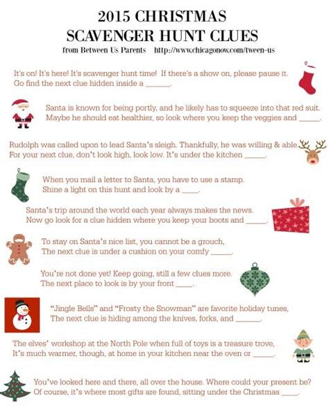 printable christmas scavenger hunt clues 2015 feliz