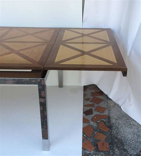 inlaid wood dining table parquetry inlaid wood dining table chrome base for sale at