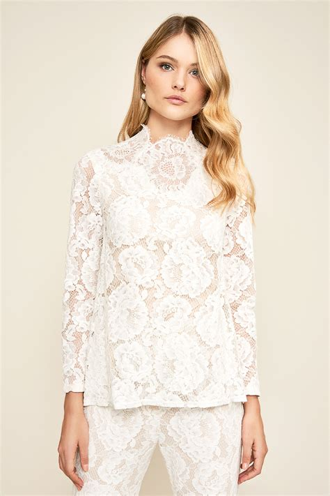 Sleeved Lace Top sidney sleeve lace top tadashi shoji